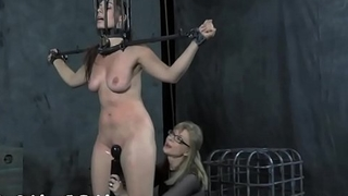 Restrained girl made to submit to stud lustful demands