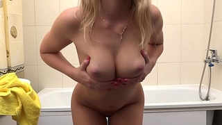 Beautiful blonde Milana Blanc show naked body and natural tits
