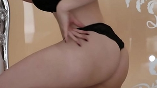 Unknown Web-Cam actress in Black Lingerie