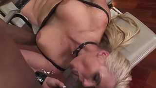 Euro MILF blows black cock and balls