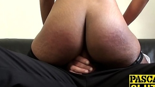 Ebony chick gags on fat cock and rides it like a slut