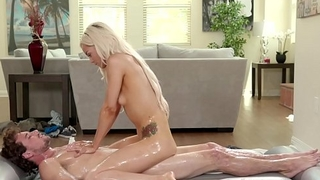 Elsa Jean practicing the nuru rub-down technique feat. Tyler Nixon
