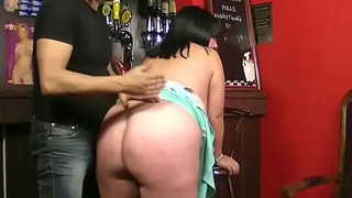 Boss fucks mega-boobs brunette barmaid for job