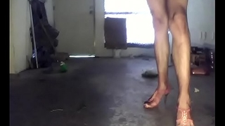 walk in high heels and red thong sexy shemale
