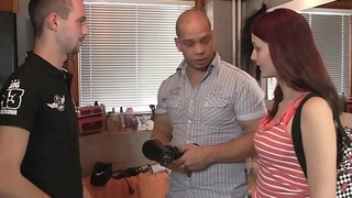 Smart hairstylist fucks his foxy-haired girlfriend