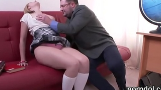 Kissable schoolgirl is seduced and drilled by senior teacher