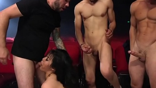 Asian hottie anal interracial gangbanged