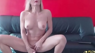 French blond MILF with big tits penetrates her tight ass