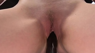 Short haired blonde anal fucks machine
