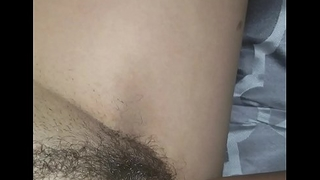 Touching my Dick while watching my wife'_s plump hairy pussy