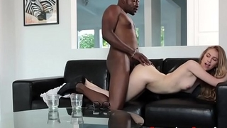 Teen sucks black dong