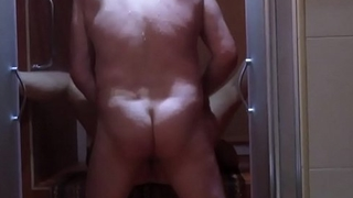 Amateur mature couple fucking in the shower with her retrench - they fuck real dirty on the floor!