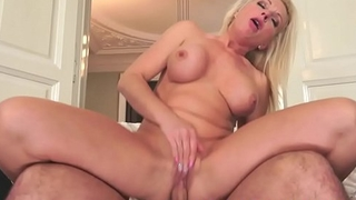 Busty amateur grandma dickriding passionately