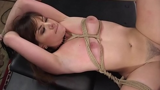 Brunette whipped and fucks in training