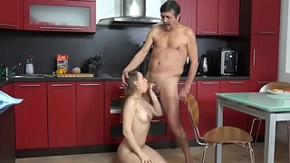 Old ugly guy fucks his young maid